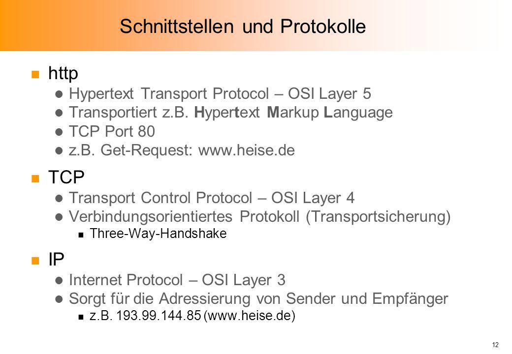 Schnittstellen und Protokolle n http l Hypertext Transport Protocol – OSI Layer 5 l Transportiert z.B.