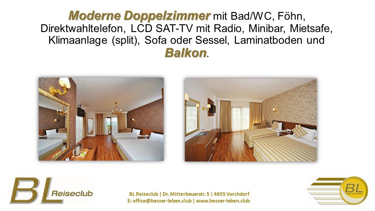 Moderne Doppelzimmer Balkon Moderne Doppelzimmer mit Bad/WC, Föhn, Direktwahltelefon, LCD SAT-TV mit Radio, Minibar, Mietsafe, Klimaanlage (split), Sofa oder Sessel, Laminatboden und Balkon.