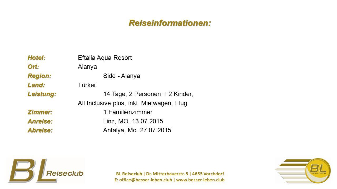 Hotel: Ort: Region: Land: Leistung: Zimmer: Anreise: Abreise: Hotel: Eftalia Aqua Resort Ort: Alanya Region: Side - Alanya Land: Türkei Leistung: 14 Tage, 2 Personen + 2 Kinder, All Inclusive plus, inkl.