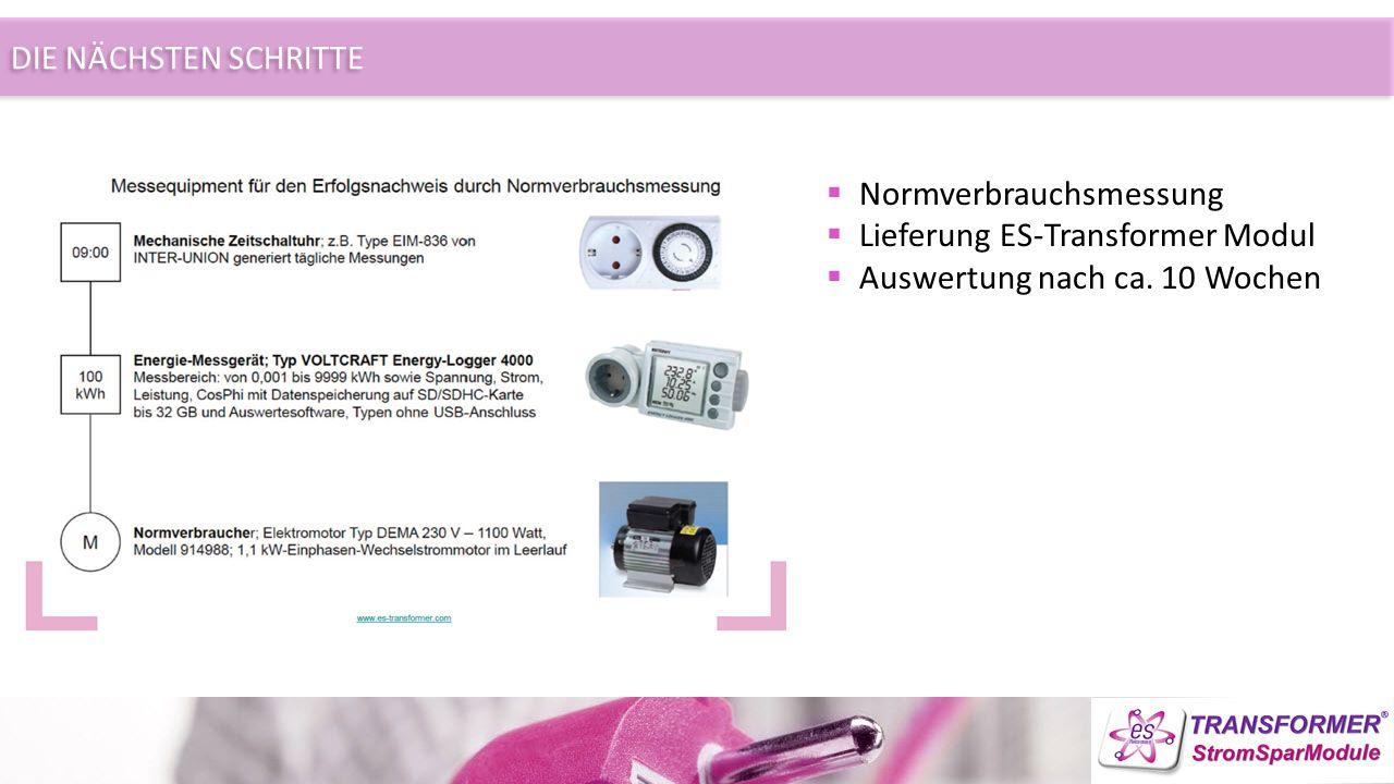 DIE NÄCHSTEN SCHRITTE  Normverbrauchsmessung  Lieferung ES-Transformer Modul  Auswertung nach ca.