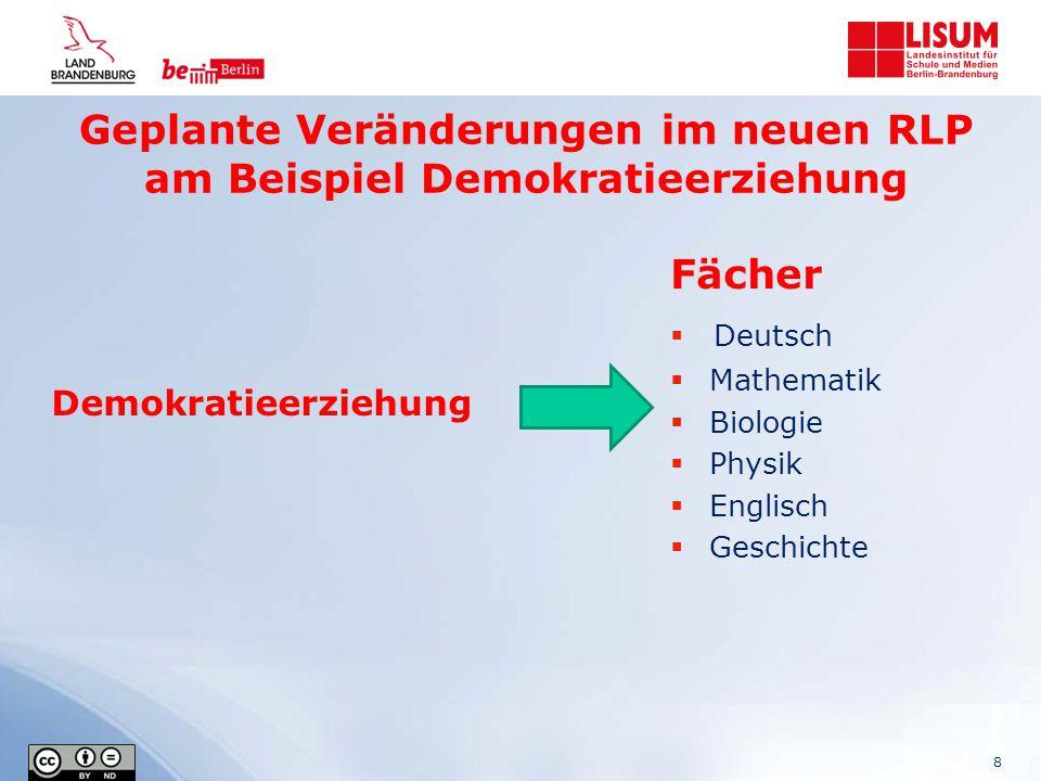 Geplante Veränderungen im neuen RLP am Beispiel Demokratieerziehung 8 Fächer  Deutsch  Mathematik  Biologie  Physik  Englisch  Geschichte Demokr