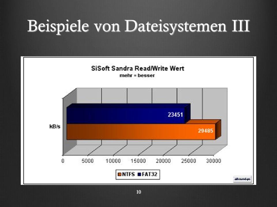 Beispiele von Dateisystemen III 10