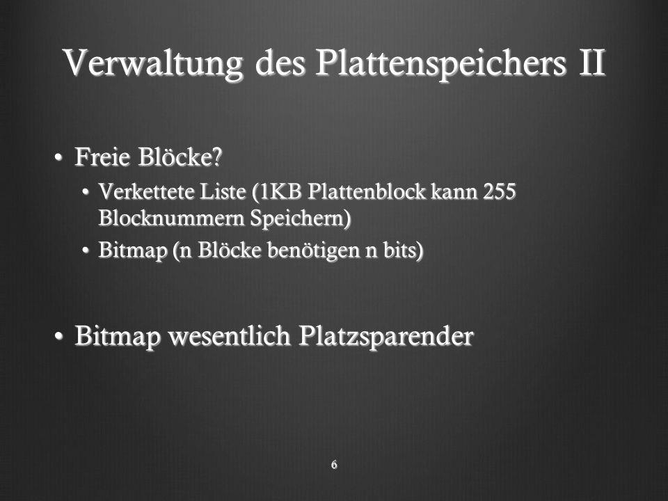 Verwaltung des Plattenspeichers II Freie Blöcke?Freie Blöcke.