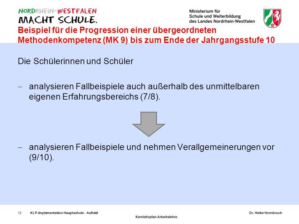 12KLP-Implementation Hauptschule - AuftaktDr. Heike Hornbruch Kernlehrplan Arbeitslehre Beispiel für die Progression einer übergeordneten Methodenkomp