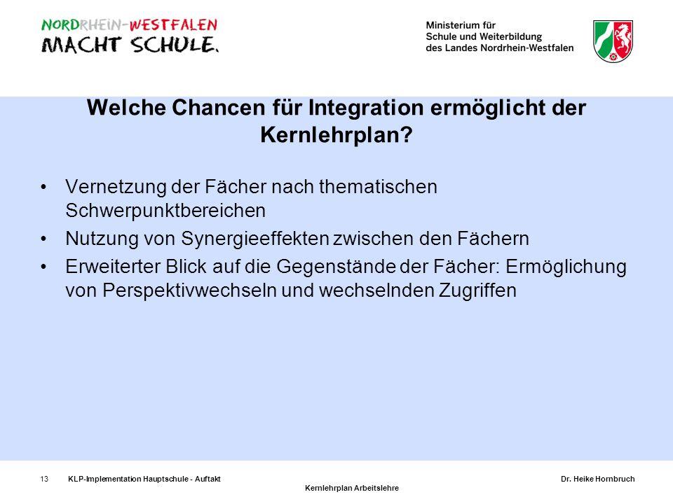 13KLP-Implementation Hauptschule - AuftaktDr. Heike Hornbruch Kernlehrplan Arbeitslehre Vernetzung der Fächer nach thematischen Schwerpunktbereichen N