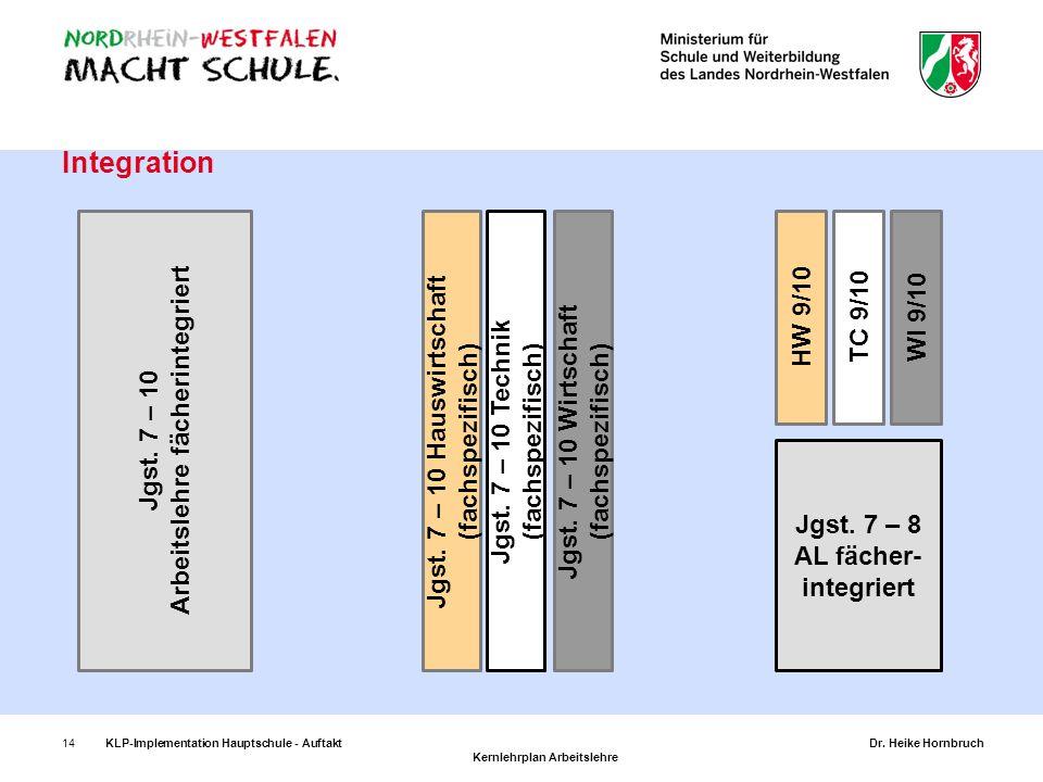 14 Integration Jgst. 7 – 10 Arbeitslehre fächerintegriert Jgst. 7 – 10 Hauswirtschaft (fachspezifisch) Jgst. 7 – 10 Technik (fachspezifisch) Jgst. 7 –