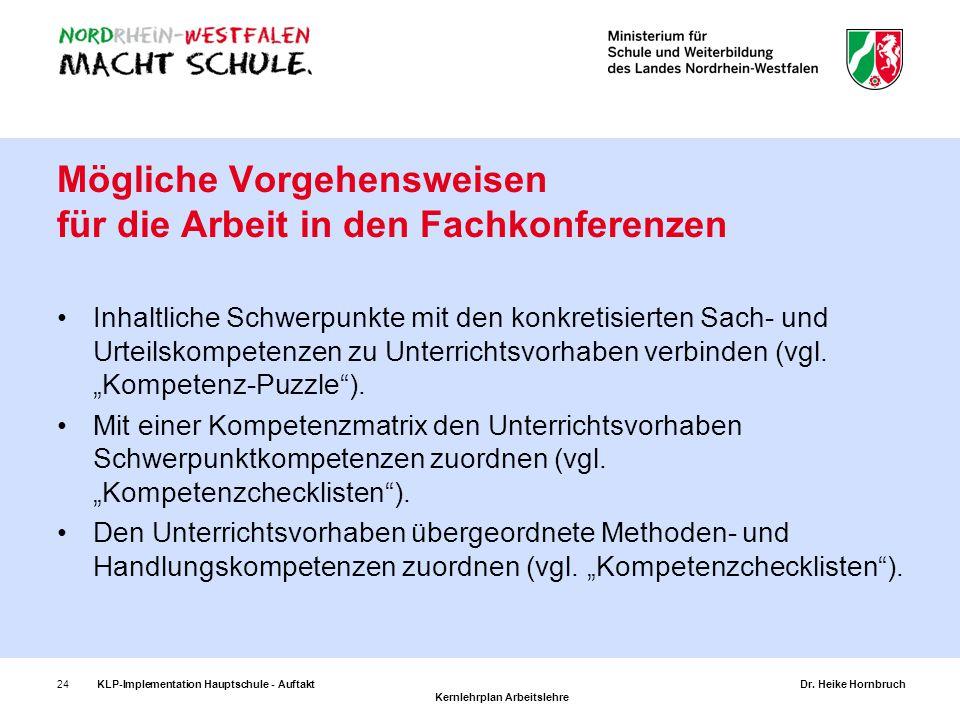 24KLP-Implementation Hauptschule - AuftaktDr. Heike Hornbruch Kernlehrplan Arbeitslehre Mögliche Vorgehensweisen für die Arbeit in den Fachkonferenzen