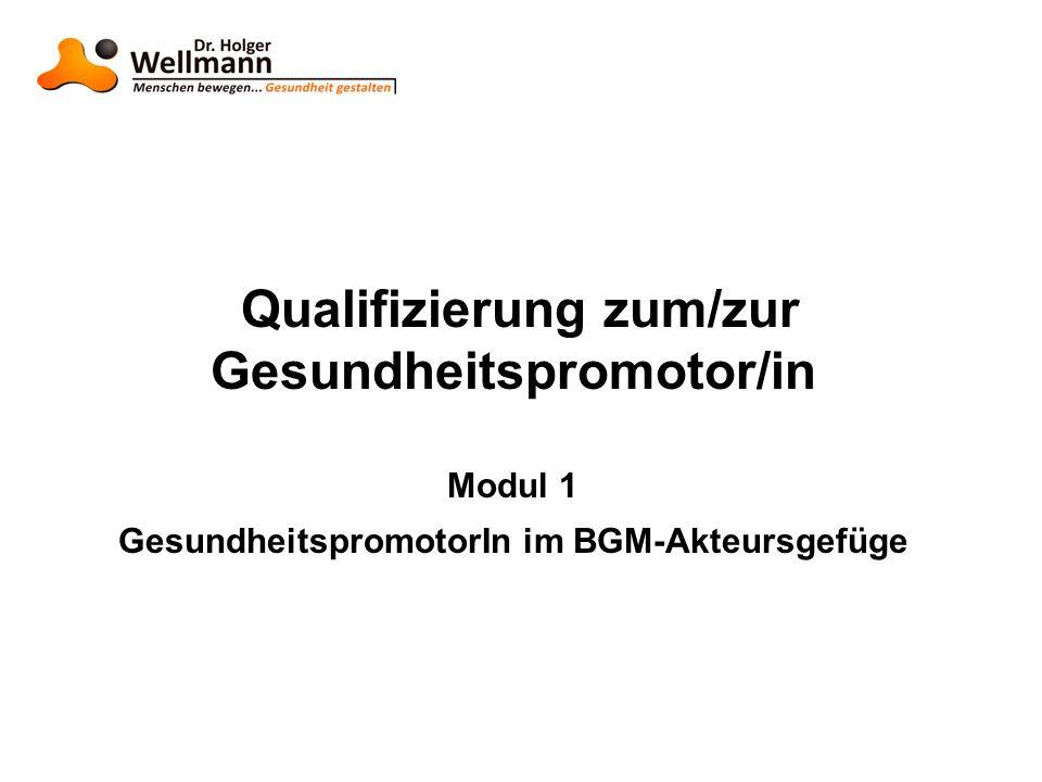 Qualifizierung zum/zur Gesundheitspromotor/in Modul 1 GesundheitspromotorIn im BGM-Akteursgefüge