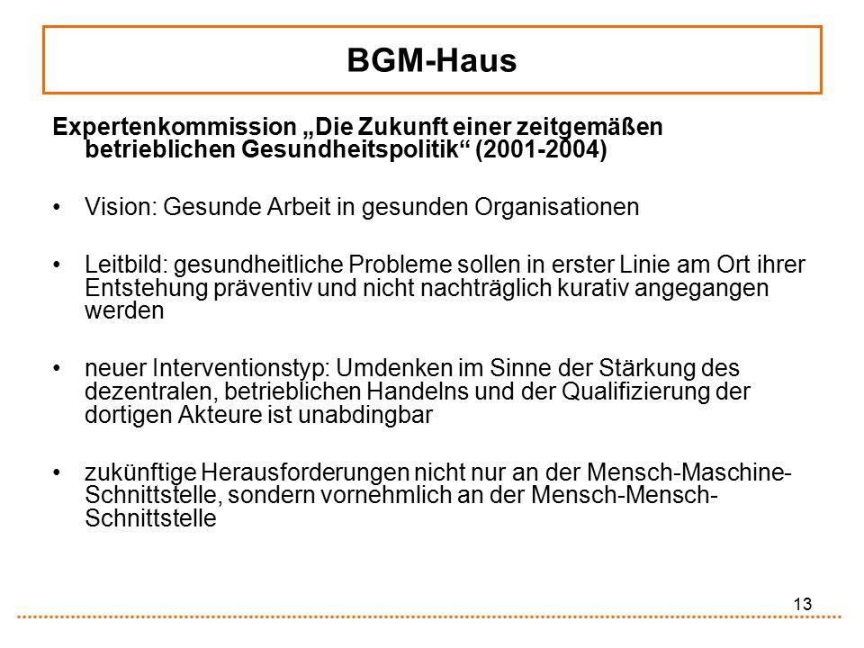 """13 BGM-Haus Expertenkommission """"Die Zukunft einer zeitgemäßen betrieblichen Gesundheitspolitik"""" (2001-2004) Vision: Gesunde Arbeit in gesunden Organis"""