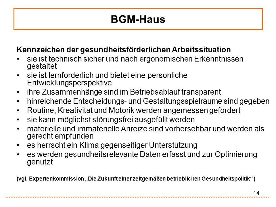 14 BGM-Haus Kennzeichen der gesundheitsförderlichen Arbeitssituation sie ist technisch sicher und nach ergonomischen Erkenntnissen gestaltet sie ist l