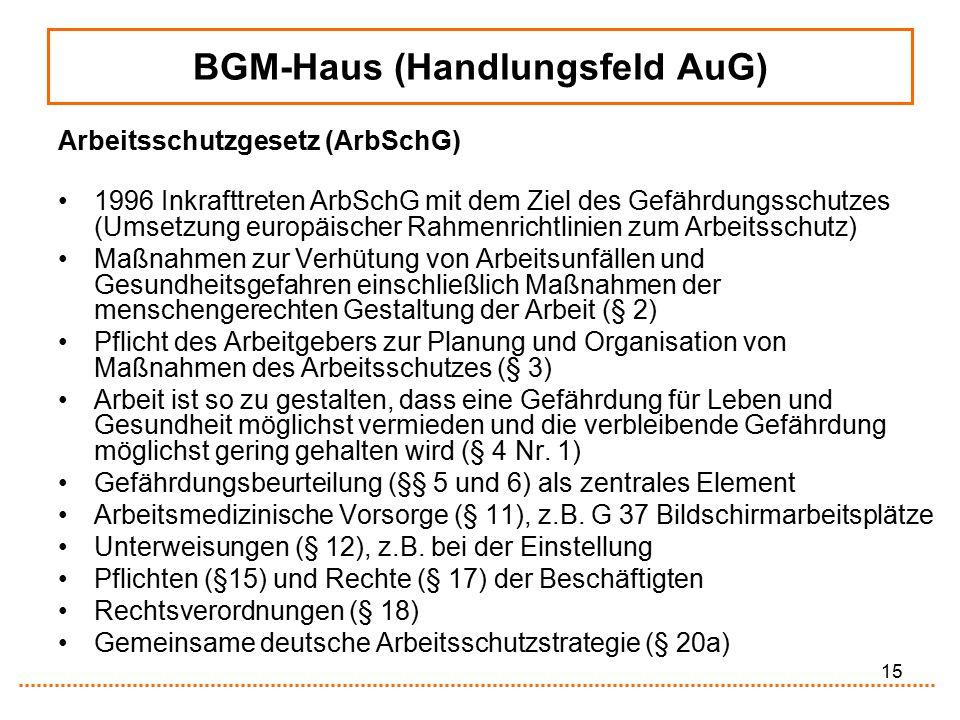 15 BGM-Haus (Handlungsfeld AuG) Arbeitsschutzgesetz (ArbSchG) 1996 Inkrafttreten ArbSchG mit dem Ziel des Gefährdungsschutzes (Umsetzung europäischer