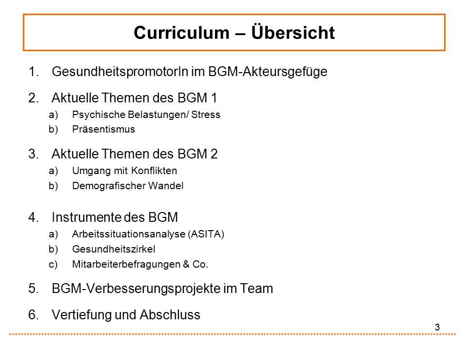 3 Curriculum – Übersicht 1.GesundheitspromotorIn im BGM-Akteursgefüge 2.Aktuelle Themen des BGM 1 a)Psychische Belastungen/ Stress b)Präsentismus 3.Ak