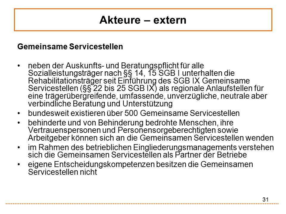 31 Gemeinsame Servicestellen neben der Auskunfts- und Beratungspflicht für alle Sozialleistungsträger nach §§ 14, 15 SGB I unterhalten die Rehabilitat