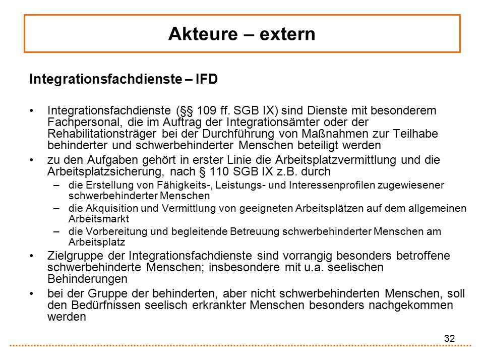 32 Integrationsfachdienste – IFD Integrationsfachdienste (§§ 109 ff. SGB IX) sind Dienste mit besonderem Fachpersonal, die im Auftrag der Integrations