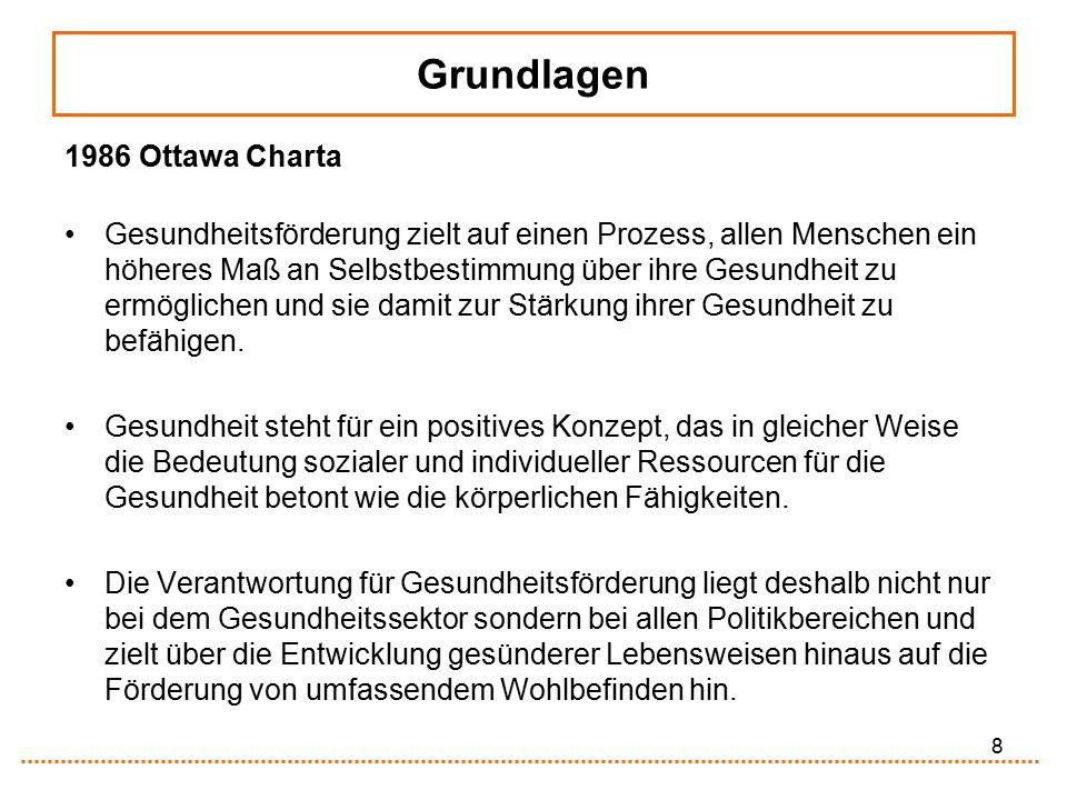 8 Grundlagen 1986 Ottawa Charta Gesundheitsförderung zielt auf einen Prozess, allen Menschen ein höheres Maß an Selbstbestimmung über ihre Gesundheit