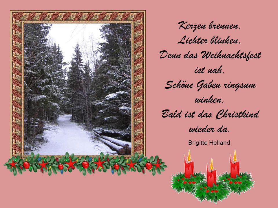 Kerzen brennen, Lichter blinken, Denn das Weihnachtsfest ist nah.