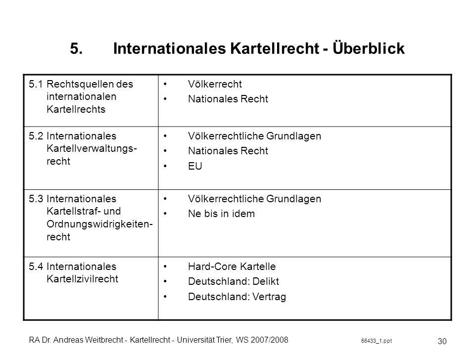 RA Dr. Andreas Weitbrecht - Kartellrecht - Universität Trier, WS 2007/2008 56433_1.ppt 5.Internationales Kartellrecht - Überblick 30 5.1 Rechtsquellen
