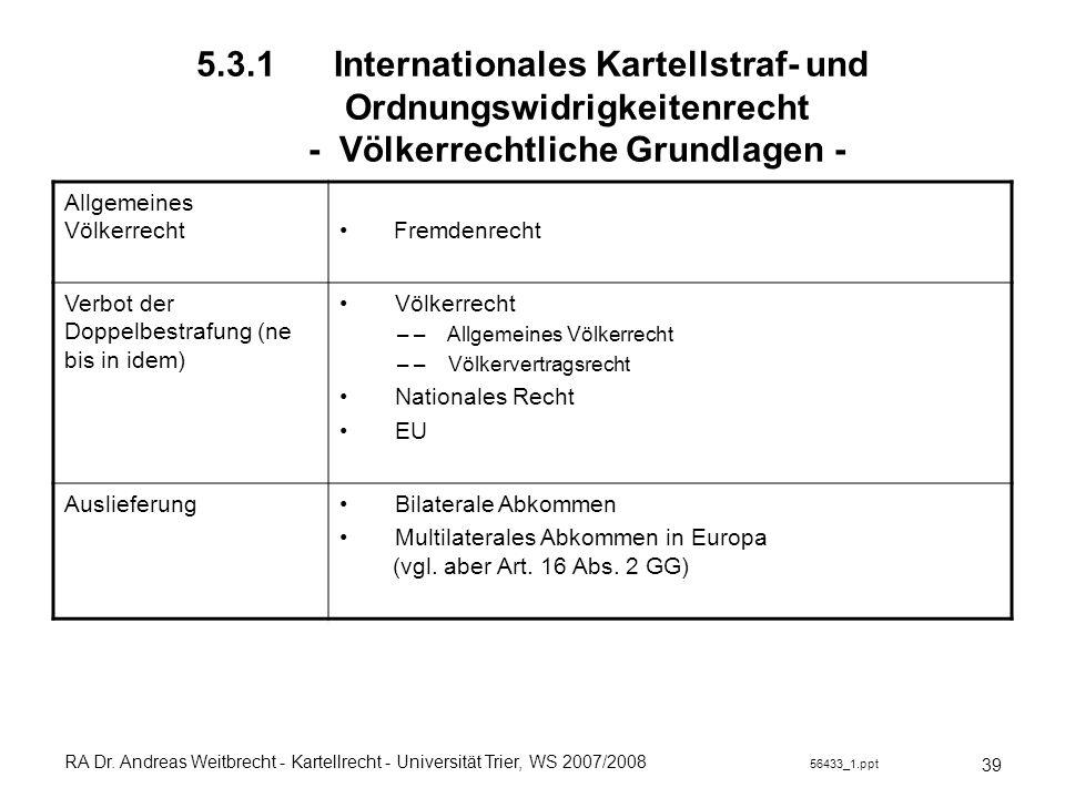 RA Dr. Andreas Weitbrecht - Kartellrecht - Universität Trier, WS 2007/2008 56433_1.ppt 5.3.1 Internationales Kartellstraf- und Ordnungswidrigkeitenrec