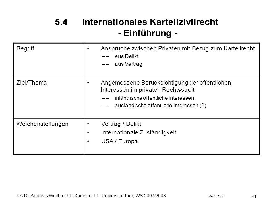 RA Dr. Andreas Weitbrecht - Kartellrecht - Universität Trier, WS 2007/2008 56433_1.ppt 5.4 Internationales Kartellzivilrecht - Einführung - 41 Begriff