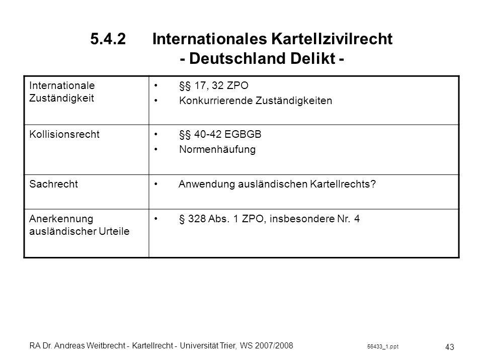 RA Dr. Andreas Weitbrecht - Kartellrecht - Universität Trier, WS 2007/2008 56433_1.ppt 5.4.2 Internationales Kartellzivilrecht - Deutschland Delikt -