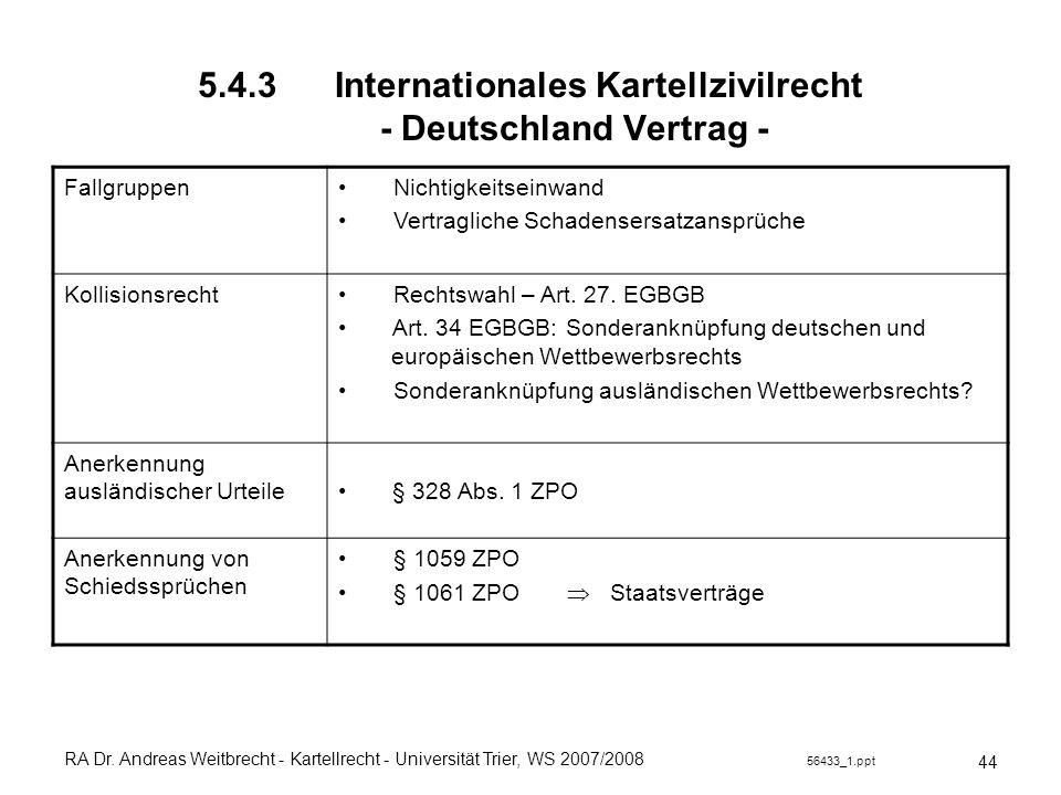 RA Dr. Andreas Weitbrecht - Kartellrecht - Universität Trier, WS 2007/2008 56433_1.ppt 5.4.3 Internationales Kartellzivilrecht - Deutschland Vertrag -