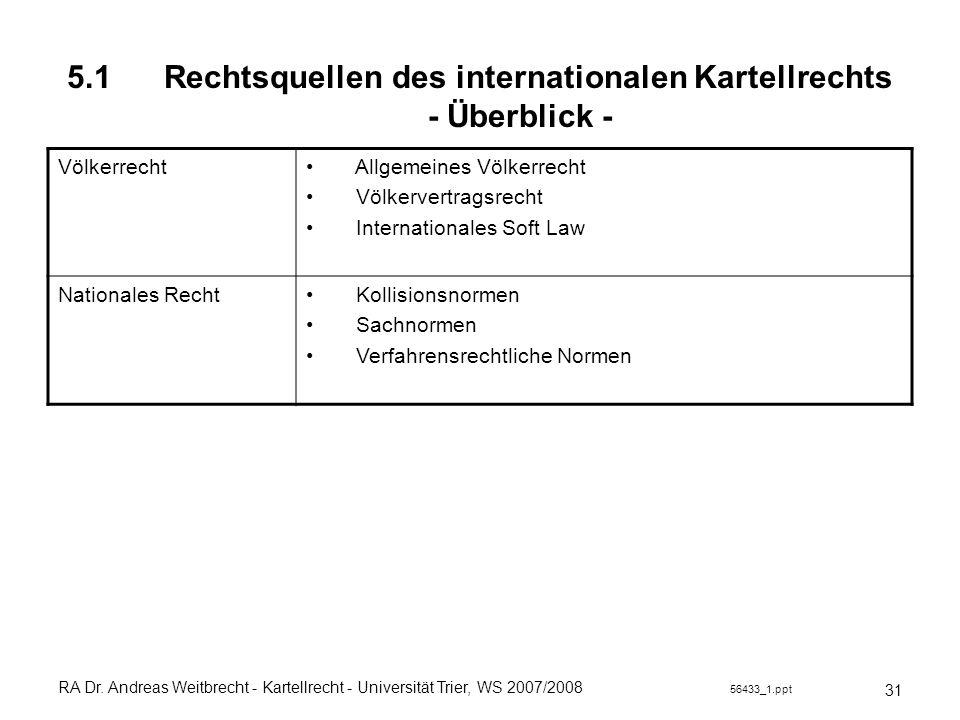 RA Dr. Andreas Weitbrecht - Kartellrecht - Universität Trier, WS 2007/2008 56433_1.ppt 5.1 Rechtsquellen des internationalen Kartellrechts - Überblick