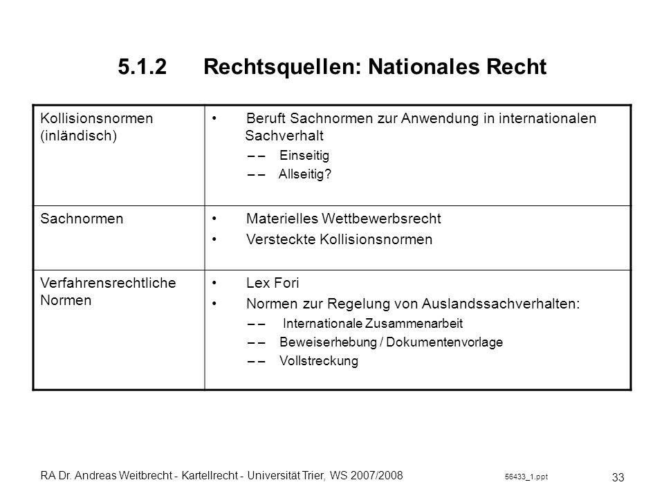 RA Dr. Andreas Weitbrecht - Kartellrecht - Universität Trier, WS 2007/2008 56433_1.ppt 5.1.2 Rechtsquellen: Nationales Recht 33 Kollisionsnormen (inlä