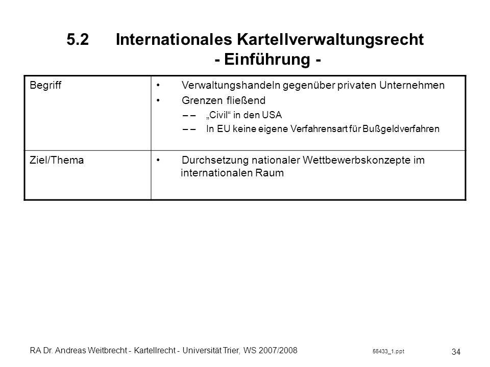 RA Dr. Andreas Weitbrecht - Kartellrecht - Universität Trier, WS 2007/2008 56433_1.ppt 5.2 Internationales Kartellverwaltungsrecht - Einführung - 34 B