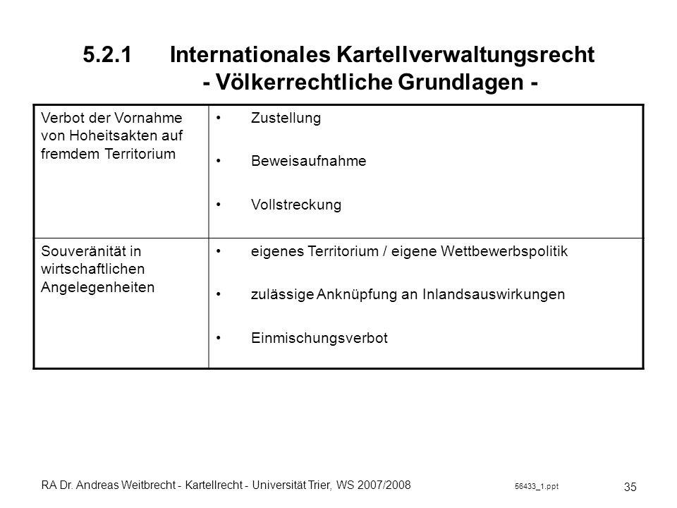 RA Dr. Andreas Weitbrecht - Kartellrecht - Universität Trier, WS 2007/2008 56433_1.ppt 5.2.1 Internationales Kartellverwaltungsrecht - Völkerrechtlich