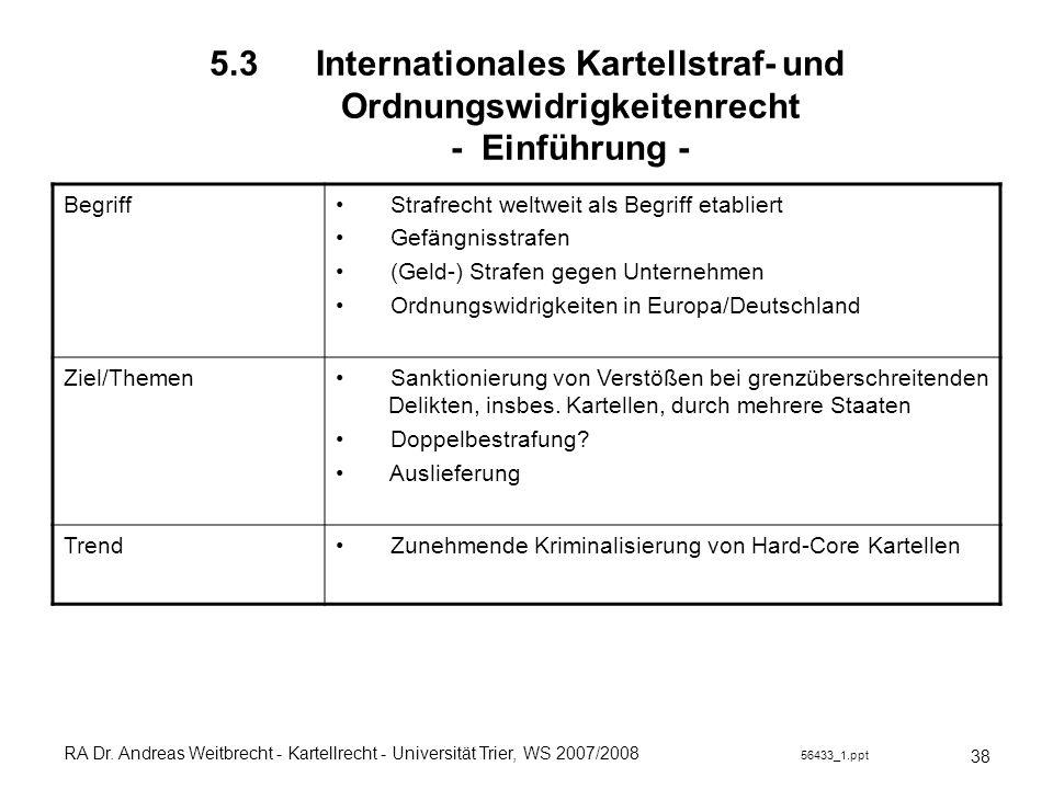 RA Dr. Andreas Weitbrecht - Kartellrecht - Universität Trier, WS 2007/2008 56433_1.ppt 5.3 Internationales Kartellstraf- und Ordnungswidrigkeitenrecht