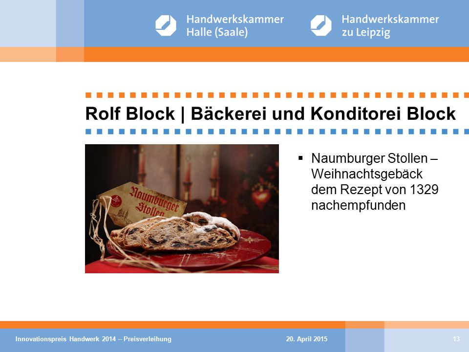 20. April 2015Innovationspreis Handwerk 2014 – Preisverleihung13 Rolf Block | Bäckerei und Konditorei Block  Naumburger Stollen – Weihnachtsgebäck de