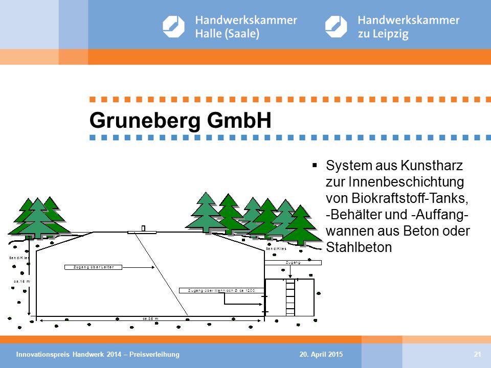 20. April 2015Innovationspreis Handwerk 2014 – Preisverleihung21 Gruneberg GmbH  System aus Kunstharz zur Innenbeschichtung von Biokraftstoff-Tanks,