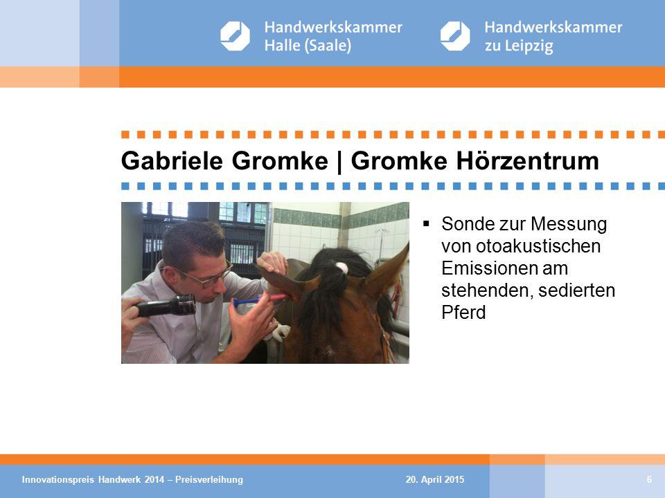 20. April 2015Innovationspreis Handwerk 2014 – Preisverleihung6 Gabriele Gromke | Gromke Hörzentrum  Sonde zur Messung von otoakustischen Emissionen