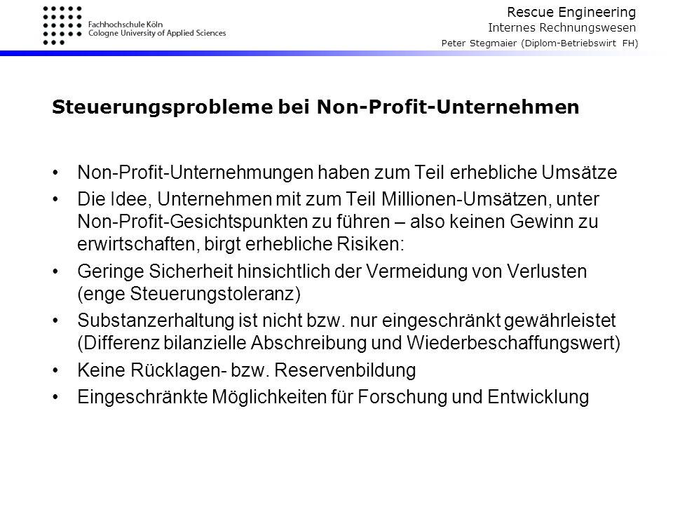 Rescue Engineering Internes Rechnungswesen Peter Stegmaier (Diplom-Betriebswirt FH) Steuerungsprobleme bei Non-Profit-Unternehmen Non-Profit-Unternehm