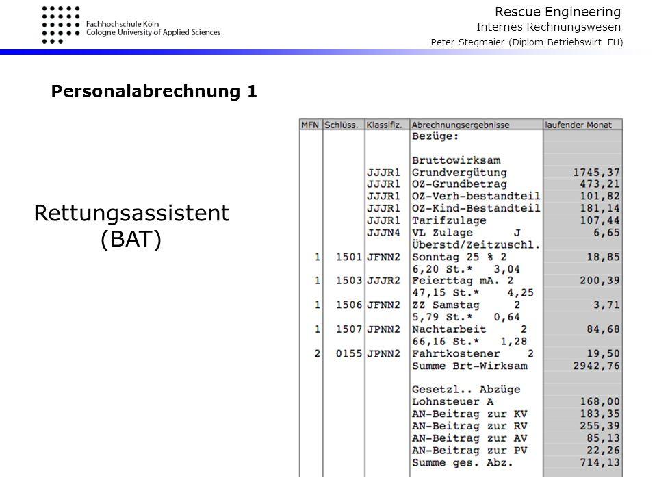 Rescue Engineering Internes Rechnungswesen Peter Stegmaier (Diplom-Betriebswirt FH) Personalabrechnung 1 Rettungsassistent (BAT)