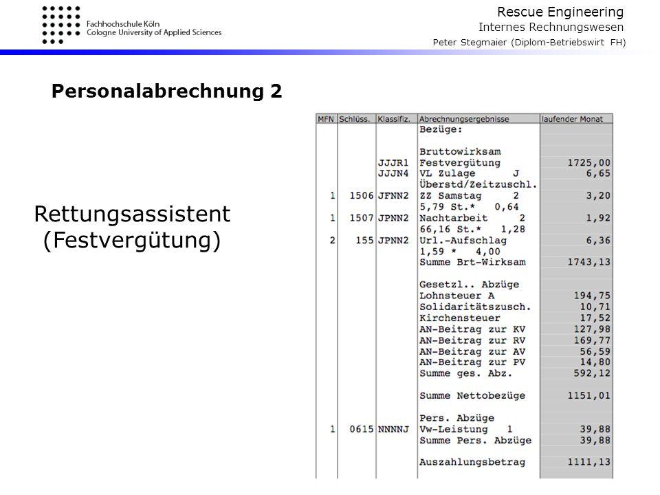 Rescue Engineering Internes Rechnungswesen Peter Stegmaier (Diplom-Betriebswirt FH) Personalabrechnung 2 Rettungsassistent (Festvergütung)