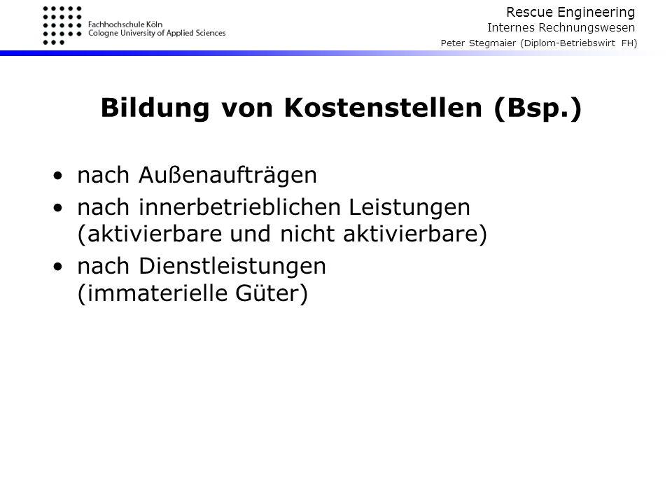 Rescue Engineering Internes Rechnungswesen Peter Stegmaier (Diplom-Betriebswirt FH) Bildung von Kostenstellen (Bsp.) nach Außenaufträgen nach innerbet