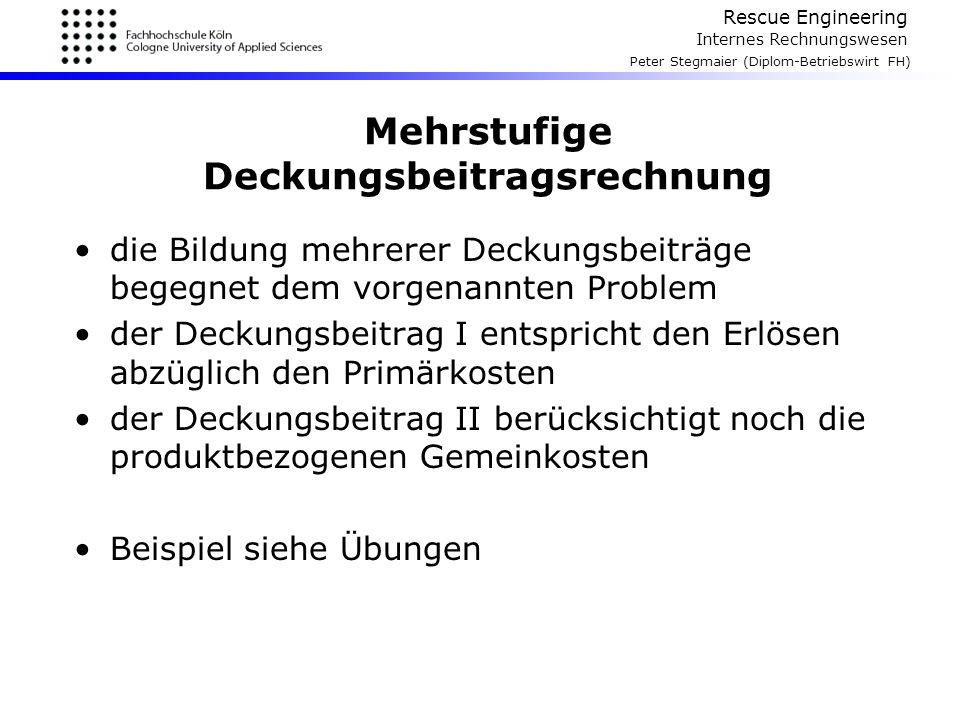 Rescue Engineering Internes Rechnungswesen Peter Stegmaier (Diplom-Betriebswirt FH) Mehrstufige Deckungsbeitragsrechnung die Bildung mehrerer Deckungs