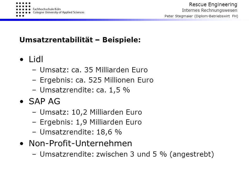 Rescue Engineering Internes Rechnungswesen Peter Stegmaier (Diplom-Betriebswirt FH) Umsatzrentabilität – Beispiele: Lidl –Umsatz: ca. 35 Milliarden Eu