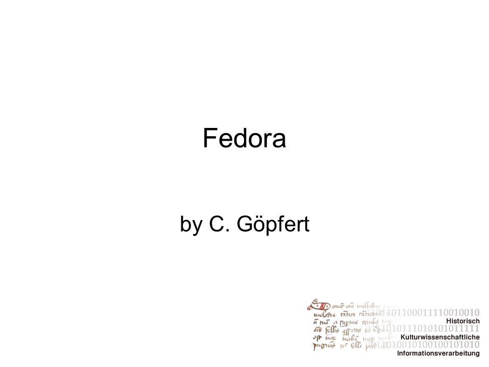 Entwicklung von Fedora Fedora →Flexible Extensible Digital Object Repository Architecture Ursprünglich von der Cornell University entwickelt als eine Architektur für das Speichern, Verwalten und den Zugriff auf digitale Inhalte 2007 wurde die not-for-profit organization Fedora Commons gegründet 2009 schloss sich Fedora mit der DSpace Foundation zusammen → ab Juli werden sie unter dem Namen DuraSpace agieren