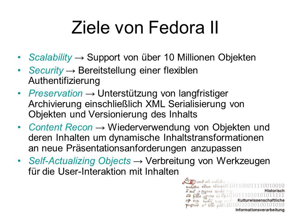 Ziele von Fedora II Scalability → Support von über 10 Millionen Objekten Security → Bereitstellung einer flexiblen Authentifizierung Preservation → Un