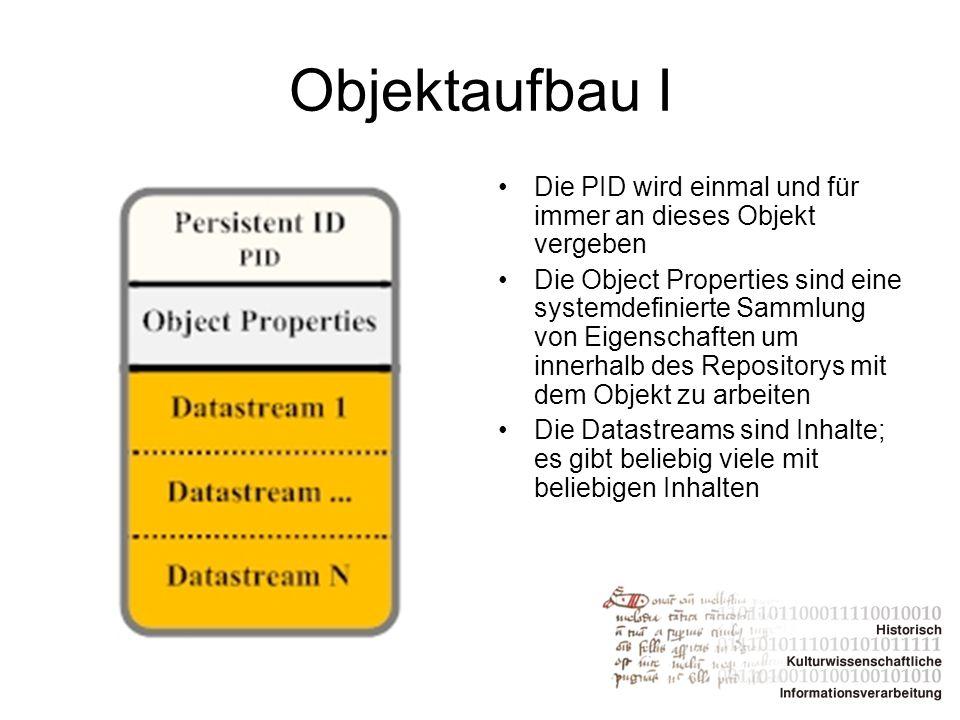 Objektaufbau I Die PID wird einmal und für immer an dieses Objekt vergeben Die Object Properties sind eine systemdefinierte Sammlung von Eigenschaften