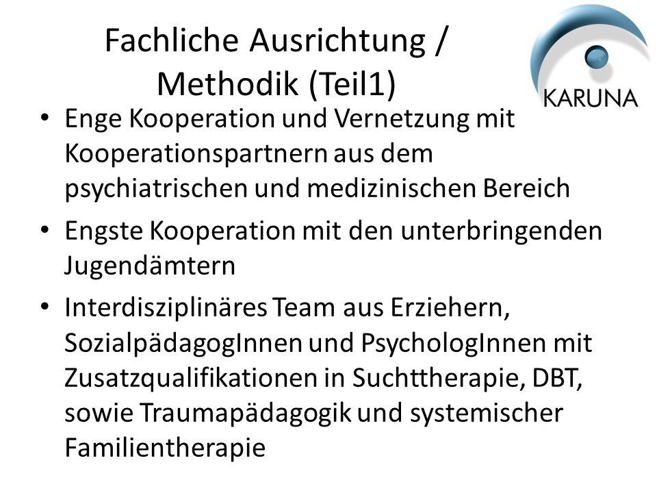Fachliche Ausrichtung / Methodik (Teil2) Bezugsbetreuungssystem Tagesstruktur als Teil des milieutherapeutischen Ansatzes Regelmäßiges Drogenscreening Intensive Einzel- und Gruppenarbeit Wertschätzende, ressourcen- und lösungsorientierte Unterstützung Entspannungsverfahren; Nada Akupunktur