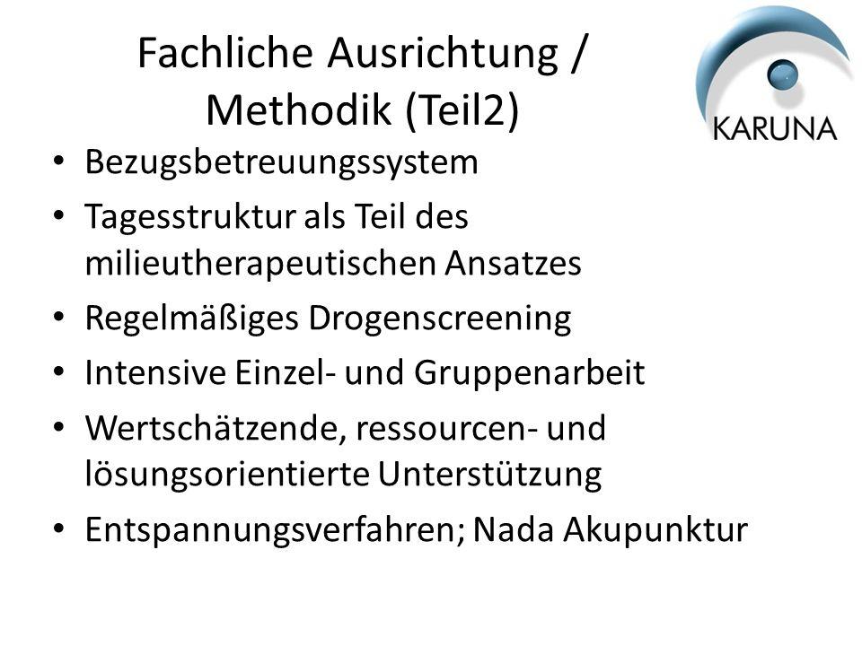 Fachliche Ausrichtung / Methodik (Teil2) Bezugsbetreuungssystem Tagesstruktur als Teil des milieutherapeutischen Ansatzes Regelmäßiges Drogenscreening