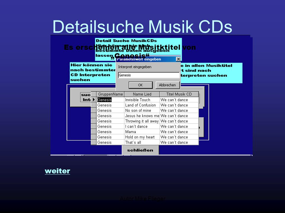 """Autor Mike Flieger Detailsuche Musik CDs Es erscheinen alle Musitktitel von """"Genesis"""" weiter"""