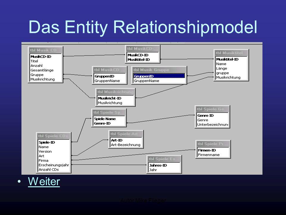 Autor Mike Flieger Anforderungen der Datenbank Die Datenbank unterteilt sich erstmal in folgende Hauptbereiche: 1.Musik CDs 2.Spiele CDs nur CDs mit 1.Spiel Weiter