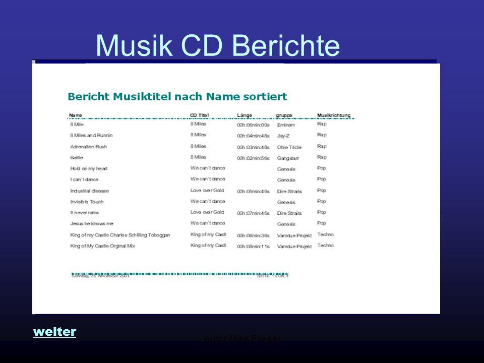 """Autor Mike Flieger Detailsuche Musik CDs Es erscheinen alle Musitktitel von """"Genesis weiter"""