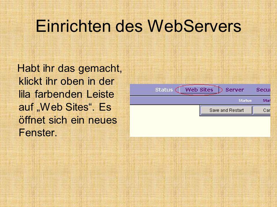 """Einrichten des WebServers Habt ihr das gemacht, klickt ihr oben in der lila farbenden Leiste auf """"Web Sites ."""