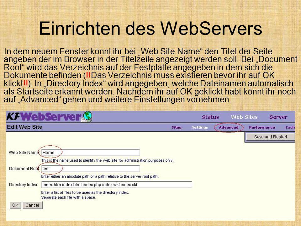 """Einrichten des WebServers In dem neuem Fenster könnt ihr bei """"Web Site Name"""" den Titel der Seite angeben der im Browser in der Titelzeile angezeigt we"""