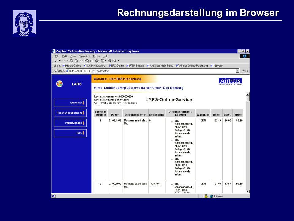 Rechnungsdarstellung im Browser